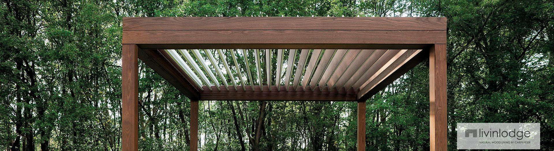 pergola lames orientables en bois livinshades by. Black Bedroom Furniture Sets. Home Design Ideas