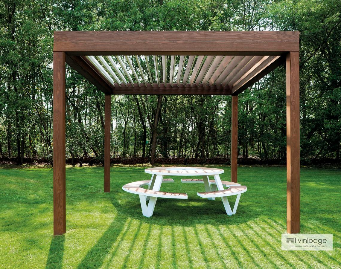 pergola lames orientables en bois livinshades by. Black Bedroom Furniture Sets. Home Design Ideas